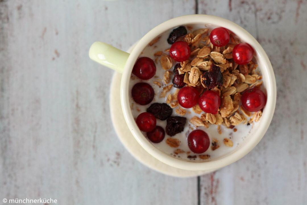 Knuspermüsli mit Cranberries und Nüssen