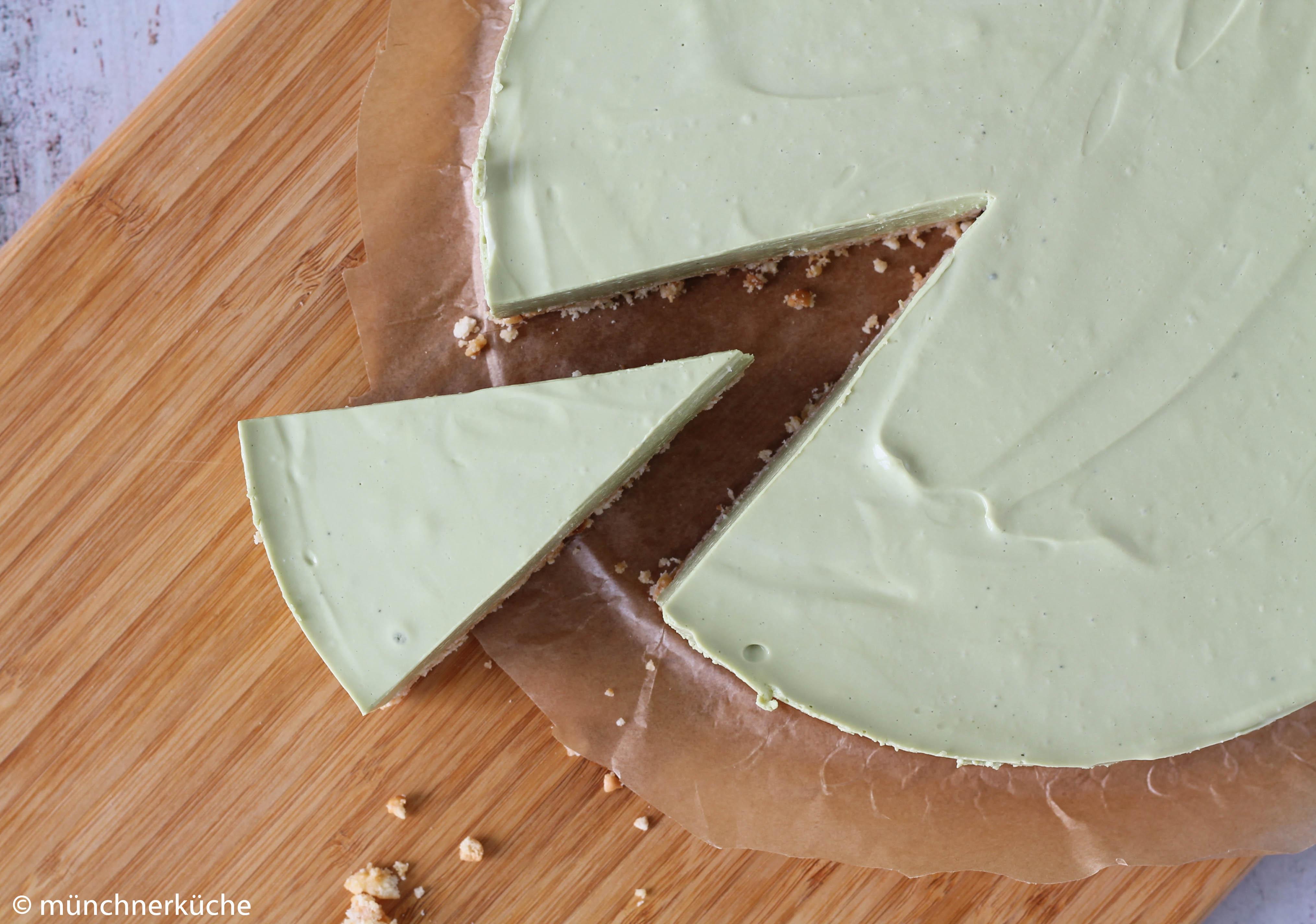 Matcha Cheesecake ohne backen.