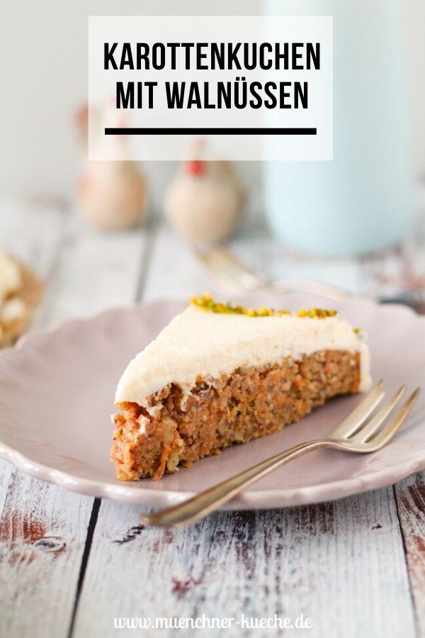 Karottenkuchen mit Walnüssen und Frosting. | www.muenchner-kueche.de #karottenkuchen #karotten #carrotcake #kuchen #frosting #ostern #backen #münchnerküche