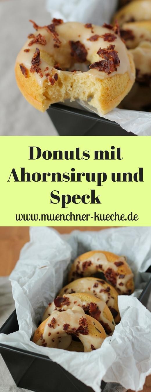 Die Donuts mit Ahornsirup und Speck sind in Amerika ein richtiger Klassiker. Diese verrückte Kombination schmeckt so gut, dass wir sie auch bei uns öfters essen sollten. | www.muenchner-kueche.de #donuts #ahornsirup #bacon