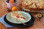 Saftiger Käsekuchen mit Aprikosen, Zwetschgen und Streuseln.