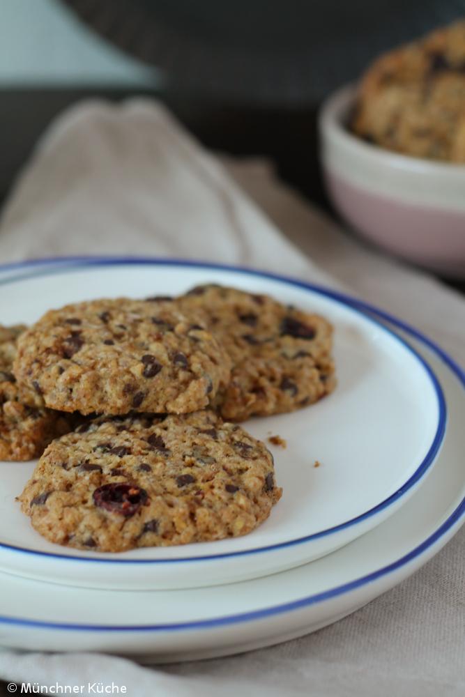 Schön chewy sind die Cookies mit Schokolade.