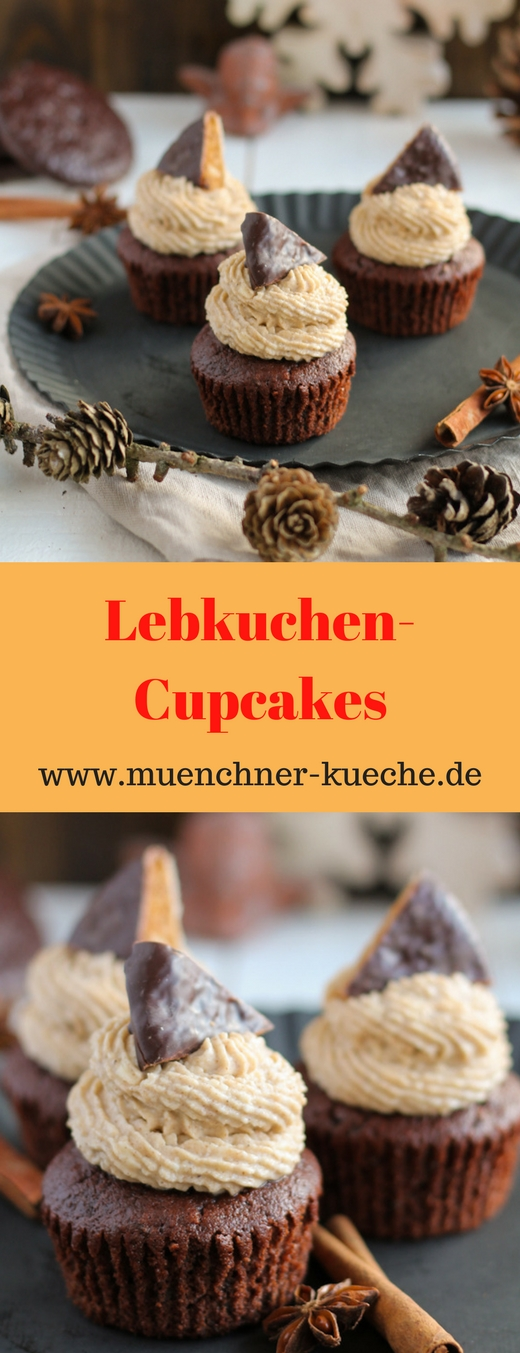 Die Lebkuchen-Cupcakes passen perfekt in die Vorweihnachtszeit und sind ein Genuss | www.muenchner-kueche.de #lebkuchen #cupcakes #weihnachten