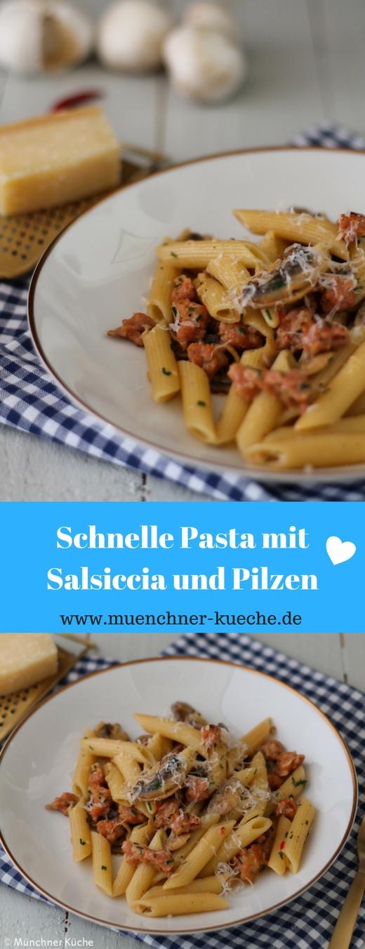 Schnelle würzige Pasta mit Salsiccia und Pilzen | www.muenchner-kueche.de #pasta #pastalover