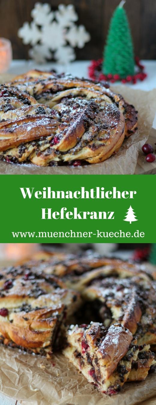 Weihnachtlicher Hefekranz mit Schokolade, Marzipan und frischen Cranberrys. Gewürzt mit gemahlenem Sternanis. www.muenchner-kueche.de #hefekranz #hefeteig #weihnachten
