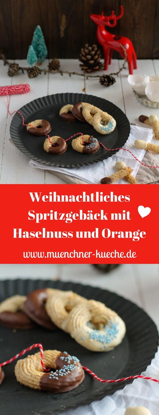 Spritzgebäck gehört zur Weihnachtszeit wie der Nikolaus. Diesmal hab ich es mit Haselnüssen und Orange gepimpt | www.muenchner-kueche.de #spritzgebäck #plätzchen #weihnachten