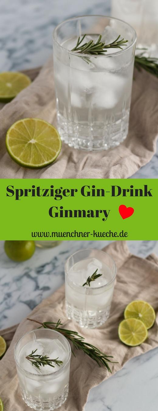 Der Ginmary ist ein Gin mit Rosmarinsirup aufgefüllt mit Mineralwasser | www.muenchner-kueche.de #gin #longdrink #rosmarin