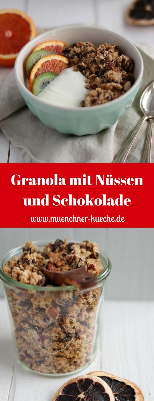 Heute gibt es zum Frühstück eine Ladung Granola mit Nüssen und Schokolade. | www.muenchner-kueche.de #granola #muesli #nuesse #schokolade