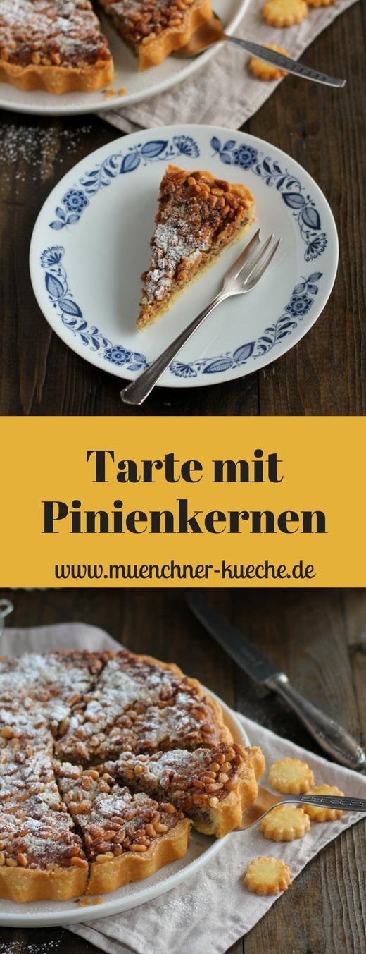 Feine Tarte mit Pinienkernen und einer leckeren Haselnussfüllung | www.muenchner-kueche.de #pinienkerne #haselnüsse #tarte