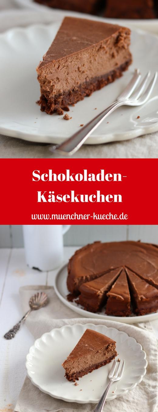 Ihr sucht den perfekten Schokoladen-Käsekuchen: Dann habt ihr ihn jetzt gefunden. Schön schokoladig und trotzdem schmeckt man den Käsekuchengeschmack erkennbar heraus. | www.muenchner-kueche.de #käsekuchen #schokolade #kekse
