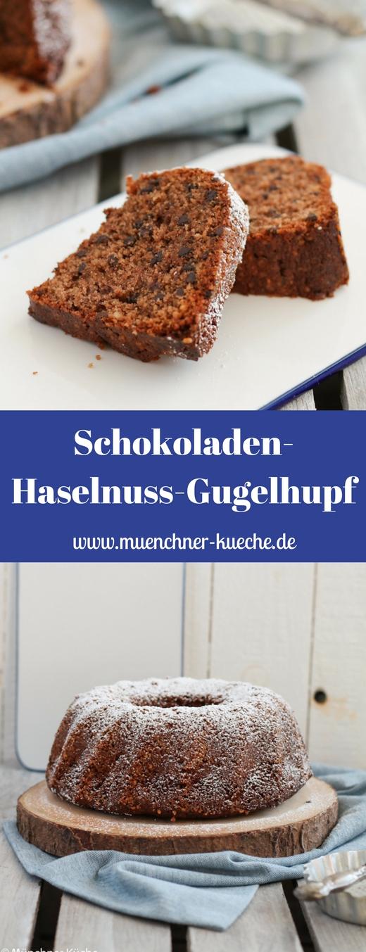 "Der Schokoladen Haselnuss Gugelhupf ist super fluffig und ""feucht"". www.muenchner-kueche.de #schokolade #haselnuss #gugelhupf #kuchen"