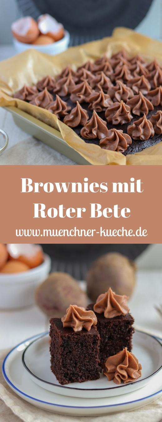 Super fluffige und köstliche Brownies mit Roter Bete und Schokoladenhaube. Die Rote Bete macht den Brownie schön feucht und saftig. | www.muenchner-kueche.de #brownies #schokolade #rotebete #gebacken