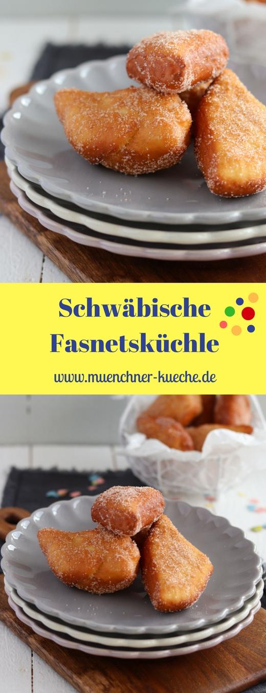 Die schwäbischen Fasnetsküchle werden wie der Name schon verrät zur Faschingszeit gegessen. Der Hefeteig wird wie Krapfen bzw. Berliner frittiert und in einer Zimt-Zucker-Mischung gewälzt. | www.muenchner-kueche.de #fasnetsküchle #fasching #hefeteig #schmalzgebäck