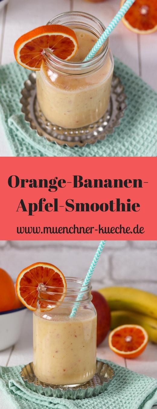 Erfrischender und gesunder Orangen-Bananen-Apfel-Smoothie. Der perfekte Vitaminkick | www.muenchner-kueche.de #smoothie #obst #orange #banane #apfel