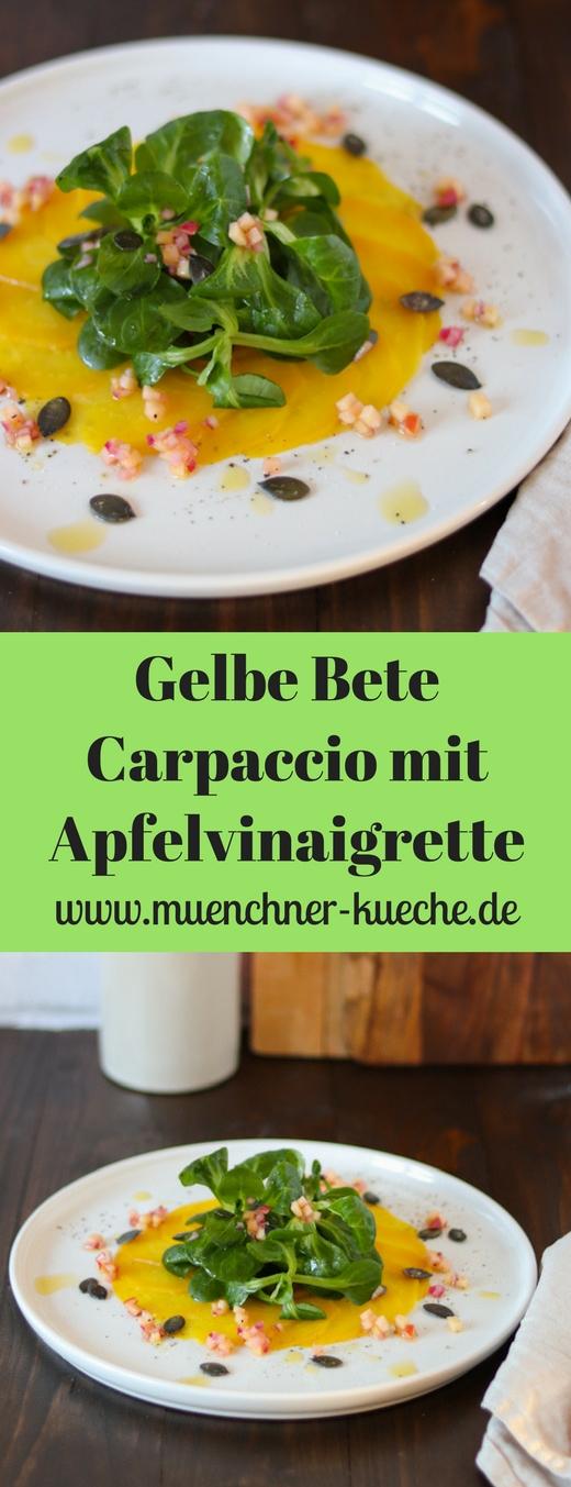 Ein farbenfrohes und vitaminreiches Carpaccio aus gelber Bete mit Feldsalat und einer feinen Apfelvinaigrette. Eine schöne bunte Vorspeise. | www.muenchner-kueche.de #carpaccio #gelbebete #feldsalat #vinaigrette #vorspeise