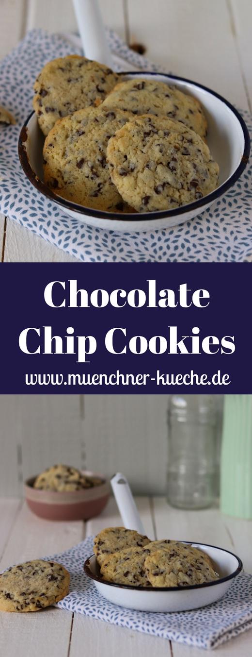 Die Chocolate Chip Cookies sind der Klassiker der amerikanischen Kekse. In einer Blechdose verpackt halten sie sich locker bis zu 2 Wochen schön frisch. | www.muenchner-kueche.de #cookies #chocolatechipcookies #schokolade #kekse