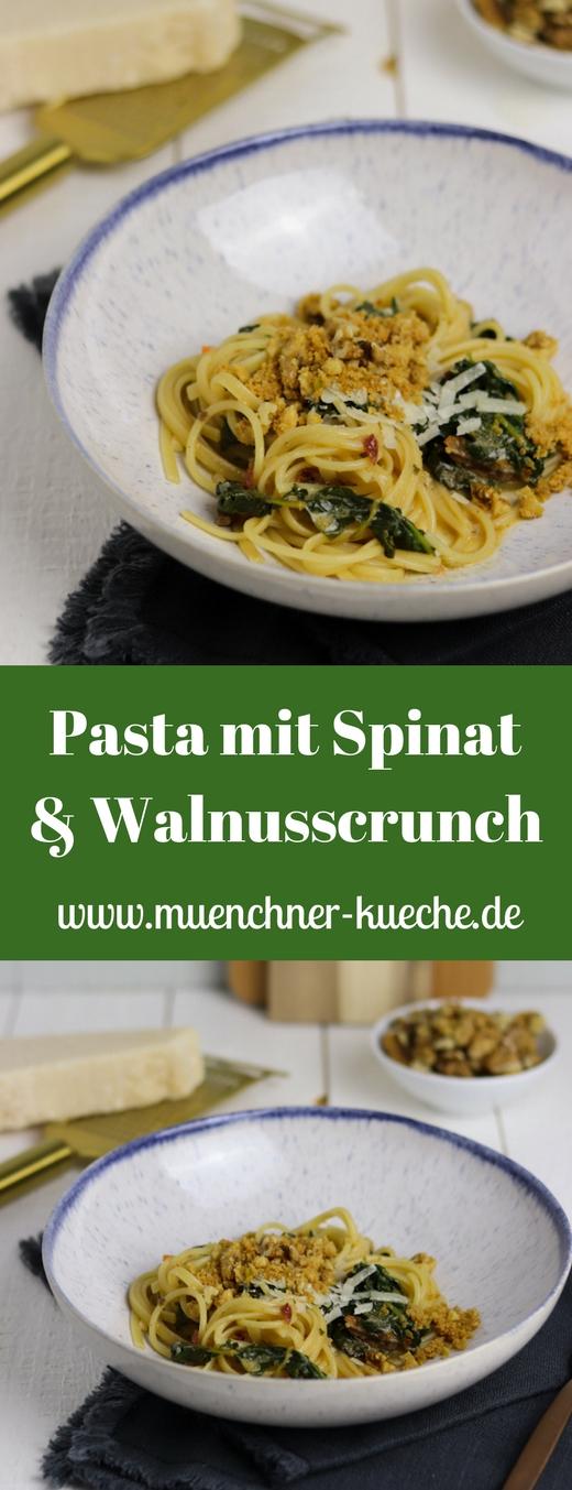 Passend zur Saison: Pasta mit Spinat und Walnusscrunch. Ein tolles vegetarisches Gericht. | www.muenchner-kueche.de #pasta #spinat #vegetarisch