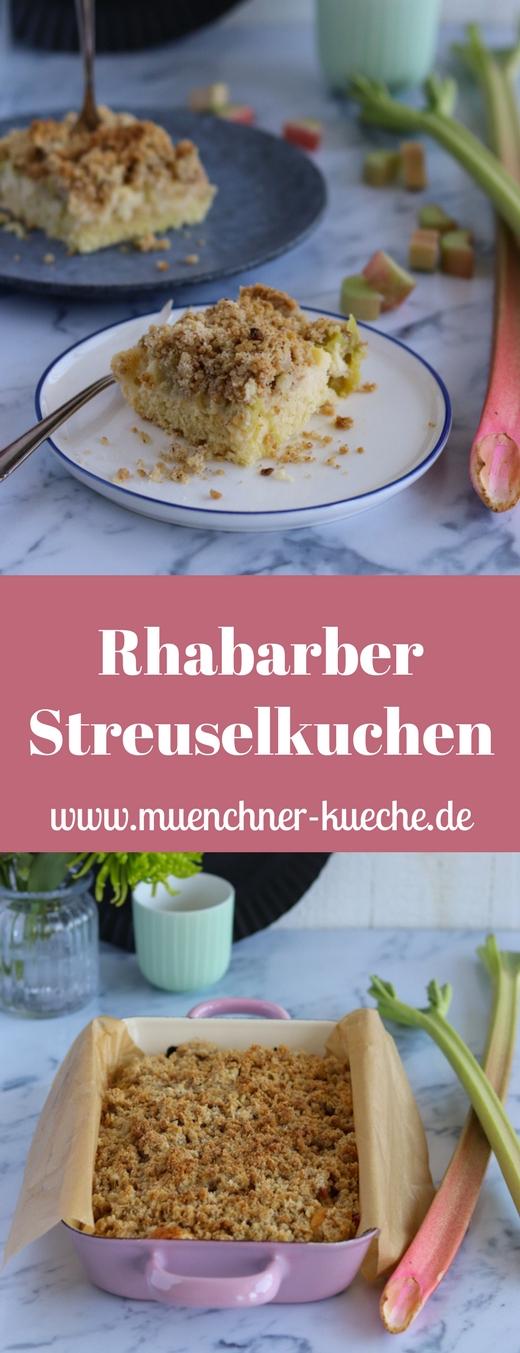 Hausgemachter Rhabarber Streuselkuchen. Fein säuerlich und doch so süß. | www.muenchner-kueche.de #rhabarber #streuselkuchen #blechkuchen