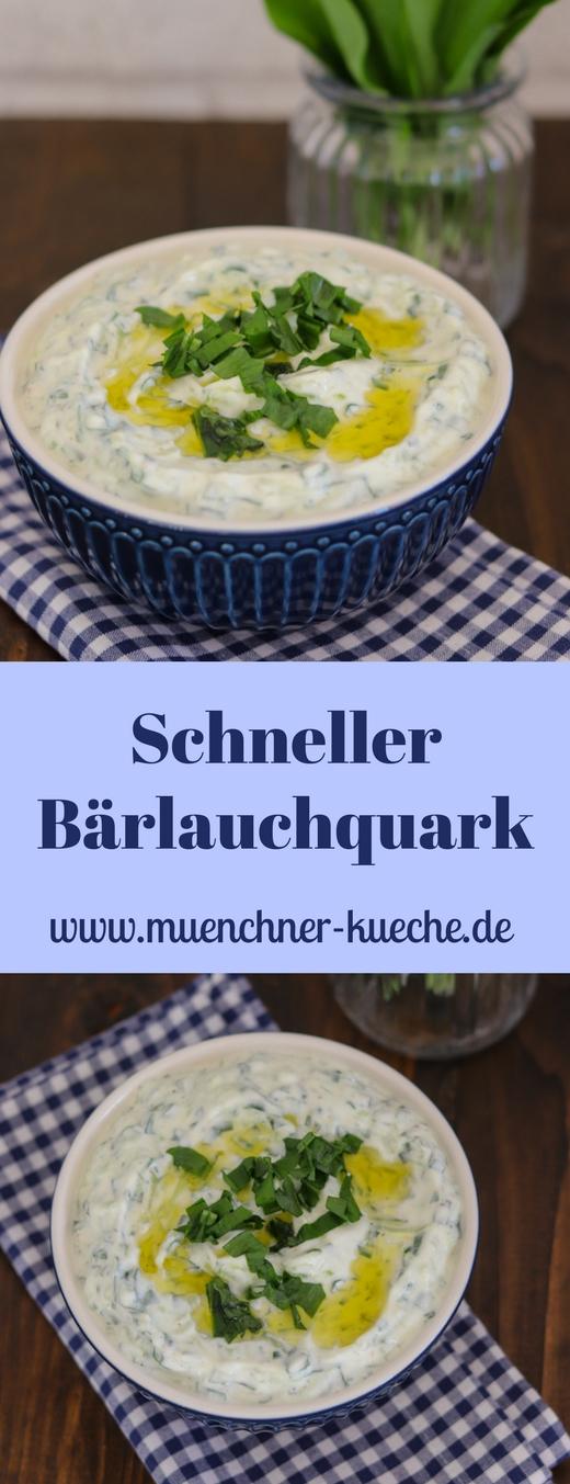 Wenn ihr fleißig Bärlauch gesammelt habt, dann macht doch diesen schnellen Bärlauchquark. Der schmeckt super zu Gegrilltem, Kartoffeln oder auch als Dip. | www.muenchner-kueche.de #bärlauch #dip #aufstrich