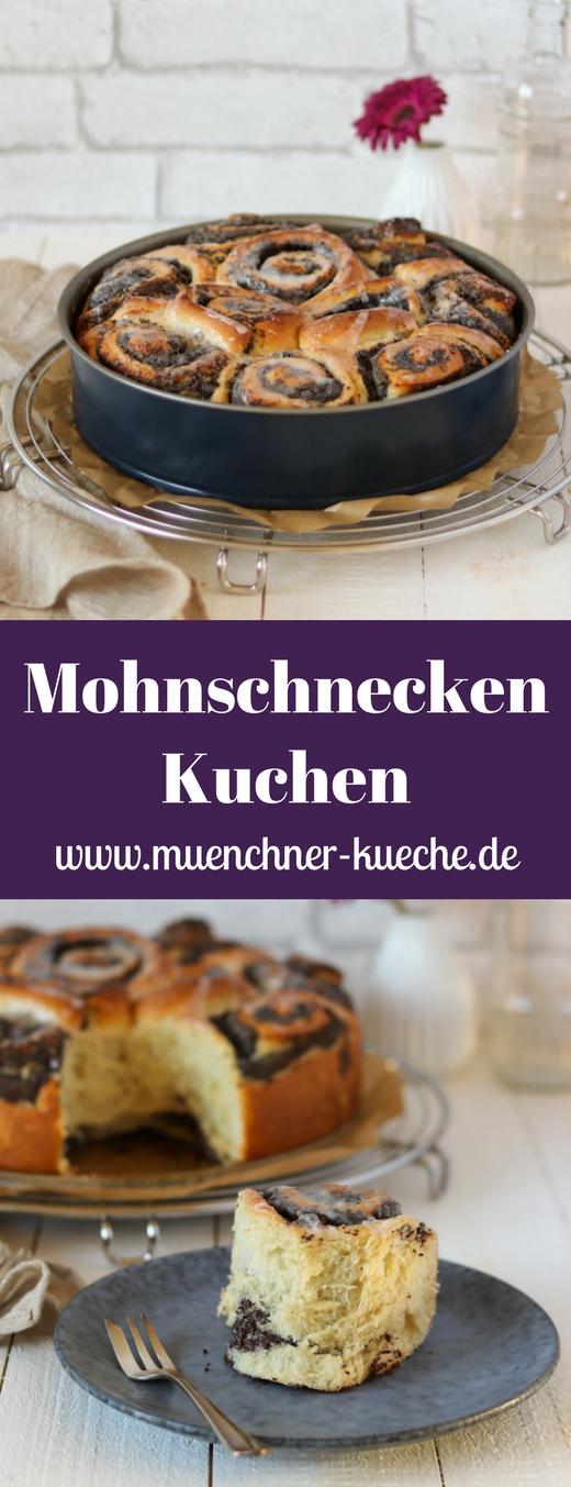 Super fluffige Mohnschnecken in Kuchenform mit selbstgemachtem Mohnback. | www.muenchner-kueche.de #hefeteig #mohnschnecken #kuchen