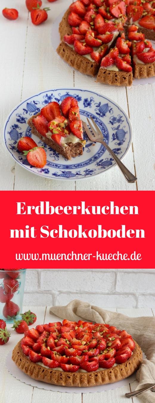 Lockerer Erdbeerkuchen mit Schokoboden und Vanillepudding. Ganz ohne Tortenguss. | www.muenchner-kueche.de #erdbeeren #erdbeerkuchen #vanillepudding