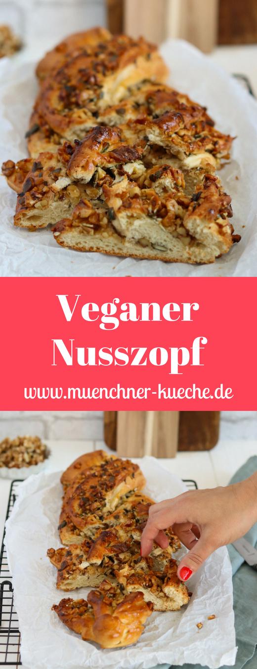 Ein veganer Nusszopf mit Walnüssen und Kürbiskernen. Schön glänzend wird er durch Aprikosenmarmelade | www.muenchner-kueche.de #vegan #nusszopf #hefeteig