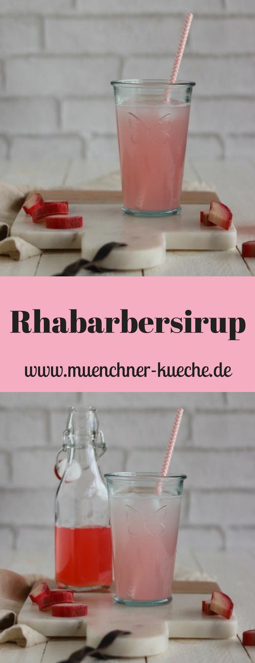 Einfaches und schnelles Rezept für Rhabarbersirup. Schmeckt schön erfrischend. | www.muenchner-kueche.de #rhabarber #rhabarbersirup #getränk