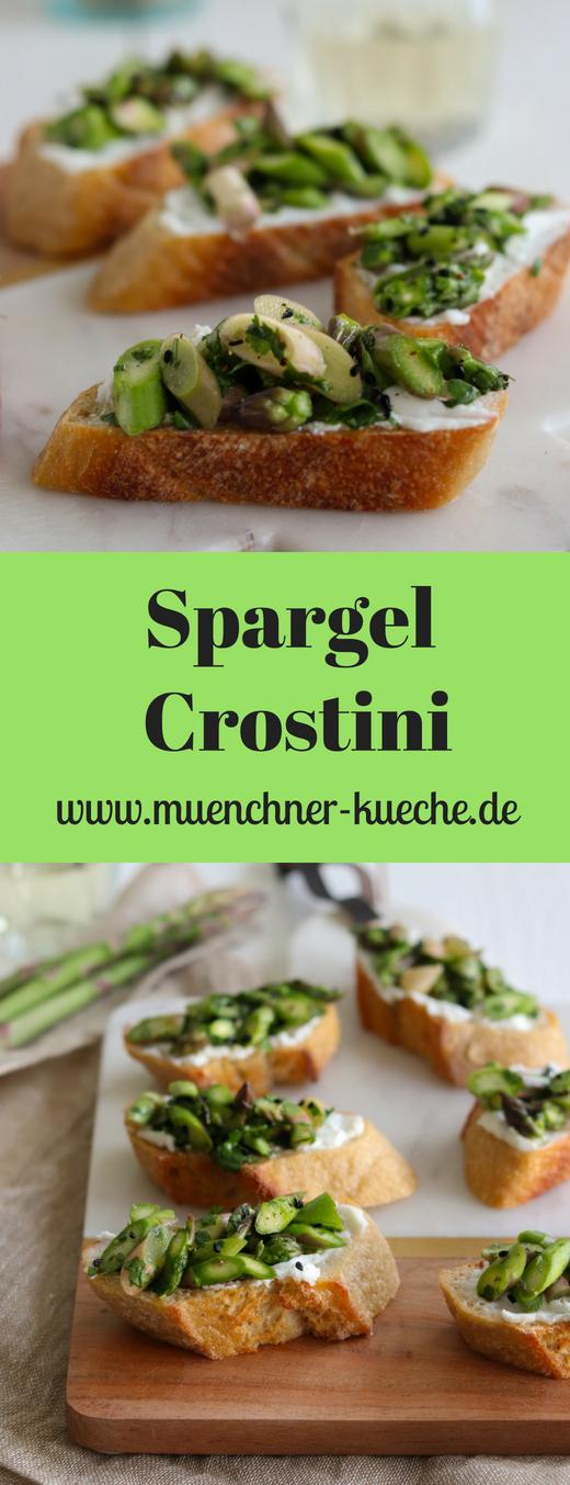 Die Spargel-Crostini sind schnell zubereitet und ein tolles Häppchen auf jeder Party.Und das alles ganz ohne Herd. | www.muenchner-kueche.de #spargel #crostini #häppchen #snack