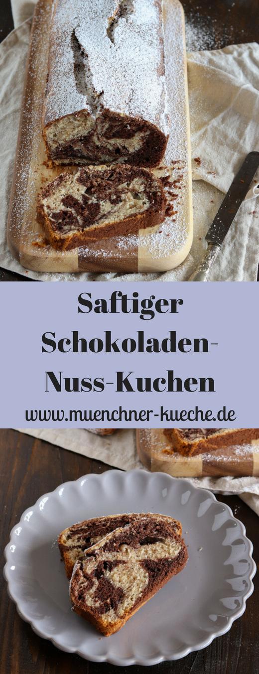 Saftiger und schneller Schokoladen-Nuss-Kuchen in der Kastenkuchenform. | www.muenchner-kueche.de #schokolade #nuss #kastenkuchenform