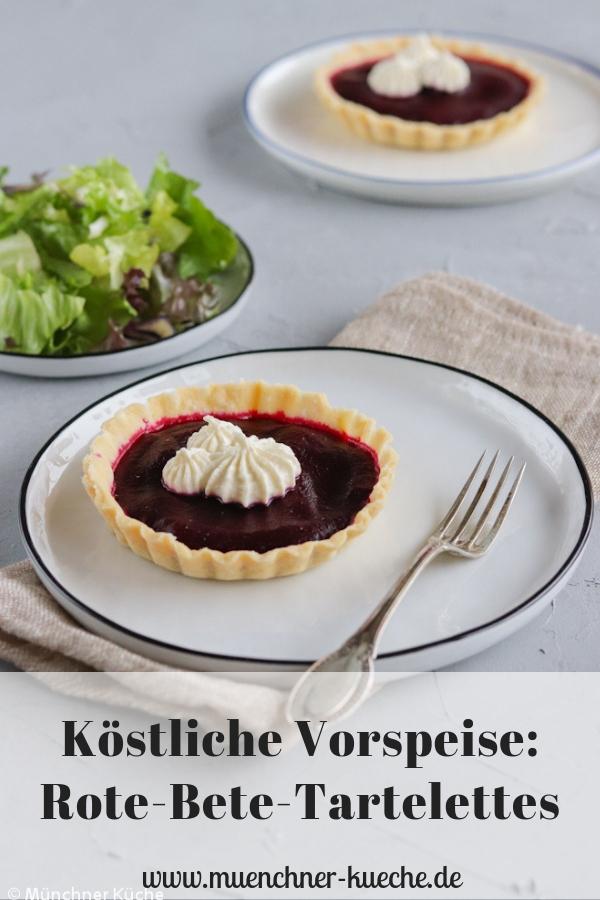 Rote-Bete-Tartelettes mit Meerrettichcreme. | www.muenchner-kueche.de #vorspeise #silvester #weihnachten