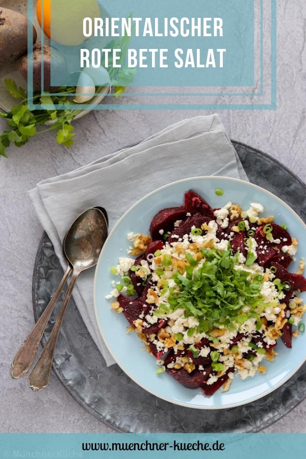 Orientalischer Rote Bete Salat mit Schafskäse und Nüssen. | www.muenchner-kueche.de #rote bete #salat #orientalisch #schafskäse #saisonal