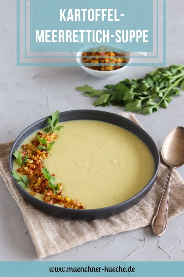 Kartoffel-Meerrettich-Suppe mit Kartoffeleinlage. | www.muenchner-kueche.de #kartoffelsuppe #meerrettich #suppe
