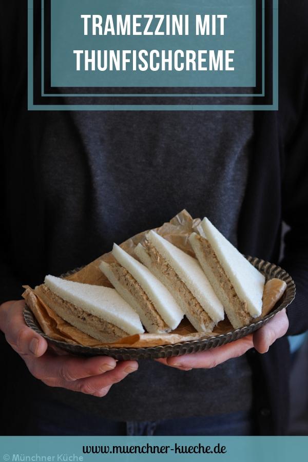So geht Sandwich auf Italienisch: Tramezzini mit Thunfischcreme. | www.muenchner-kueche.de #tramezzini #thunfisch #creme #sandwich #belegtebrote
