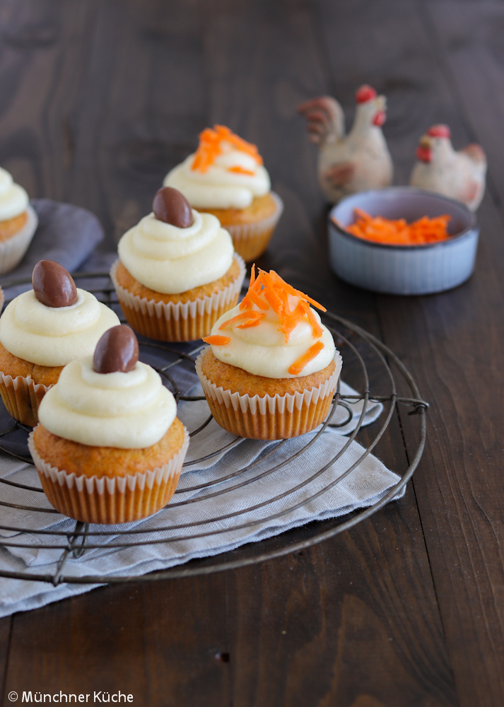 Carrot Cake Cupcakes zu Ostern.