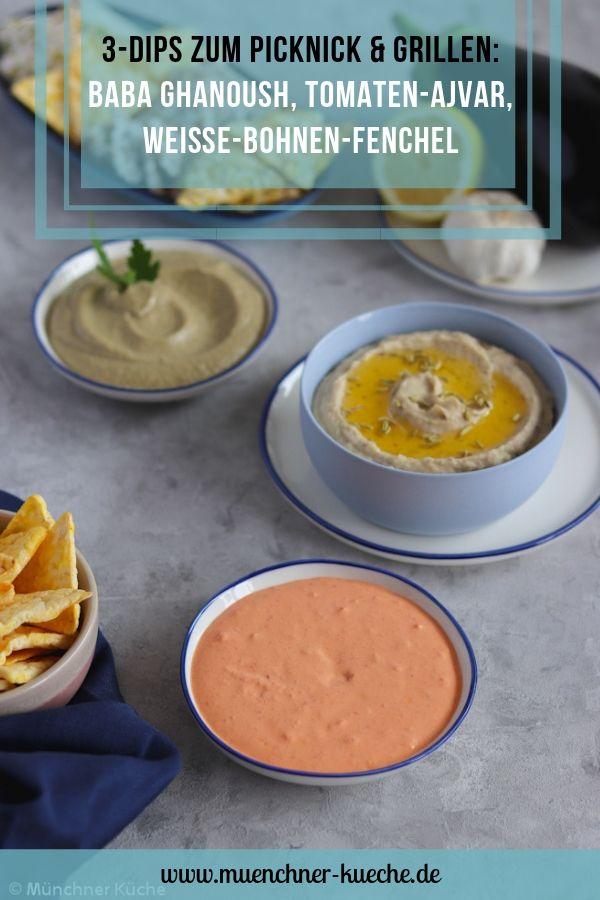3erlei Dips. Perfekt für ein Picknick oder zum Grillen. Baba Ghanoush, Tomaten-Ajvar-Dip & Weiße Bohnen Dip mit Fenchel. | www.muenchner-kueche.de #dip #dips #saucen #picknick #grillen #babaghanoush #auberginencreme #auberginen #bohnen #fenchel #tomaten #ajvar