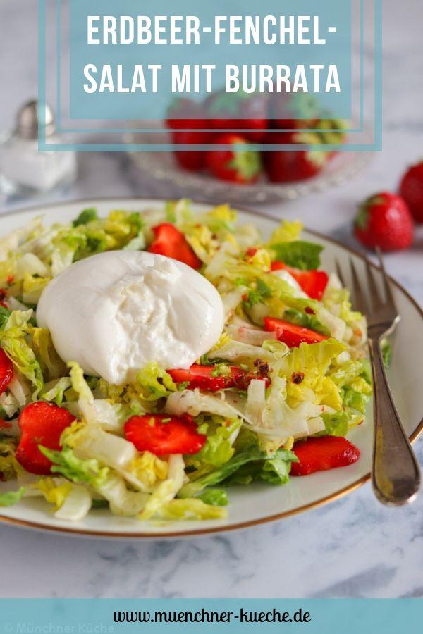 Fixe Sommerabendküche: Erdbeer-Fenchels-Salat mit cremigem Burrata. | www.muenchner-kueche.de #salat #erdbeeren #fenchel #salatherzen #burrata #lowcarb #leichteküche #sommer