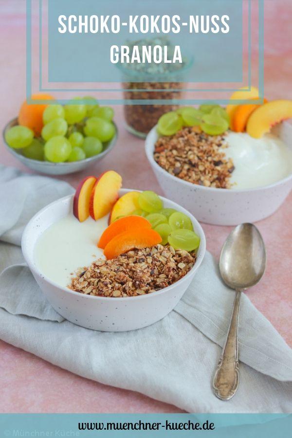 Schnell gemacht: Schoko-Kokos-Nuss Granola | www.muenchner-kueche.de #müsli #granola #schokolade #kokos #nuss #frühstück #gesund #selbstgemacht