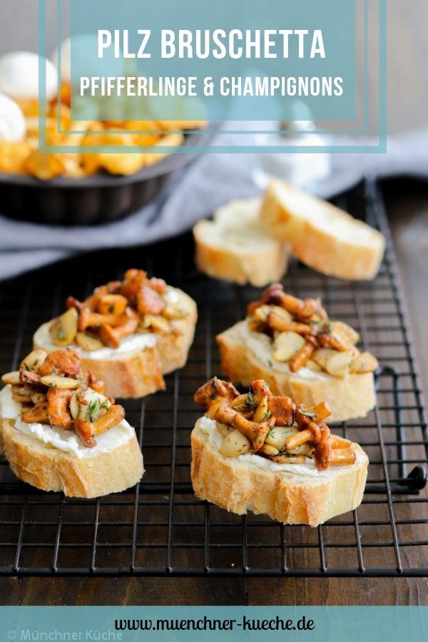 Herbstliches Fingerfood: Pilz Bruschetta mit Pfifferlingen und Chamignons. | www.muenchner-kueche.de #pilze #pfifferlinge #champignons #bruschetta #fingerfood #aperitif #herbst