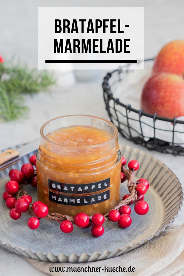 Ein wunderbares selbst gemachtes Weihnachtsgeschenk - schmackhafte Bratapfelmarmelade. | www.muenchner-kueche.de #marmelade #aufstrich #bratapfelmarmelade #bratapfel #geschenk #geschenkausderküche #weihnachten #münchnerküche