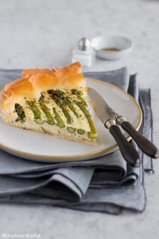 Quiche mit grünem Spargel