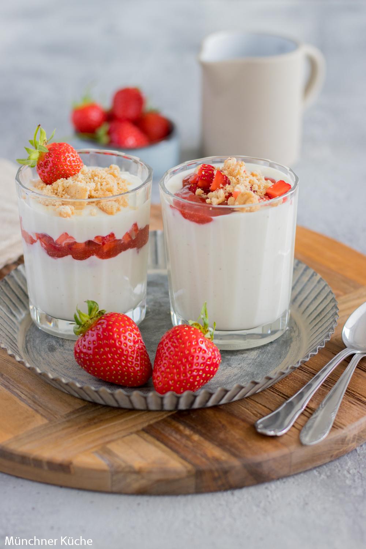 Schnelles Erdbeer-Quark-Dessert